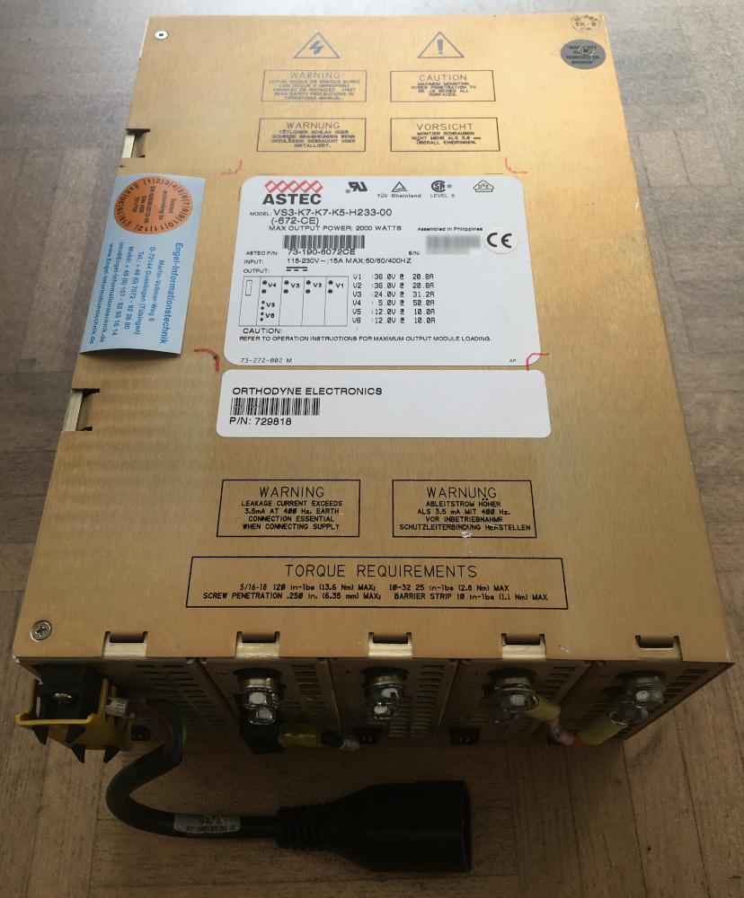 Astec-Netzteil VS3-K7-K7-K5-H233-00(-672-CE), Netzteil auch von Orthodyne Electronics
