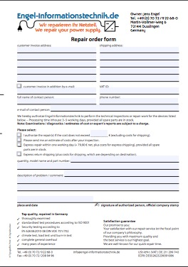 Repair Order Form for power supplies